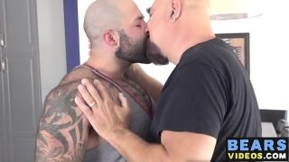 Muscle stud Atlas Grant banging older guy in the kitchen